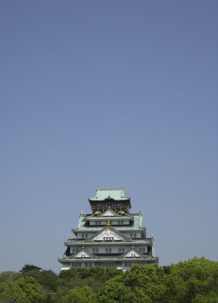 osaka castle with blue sky