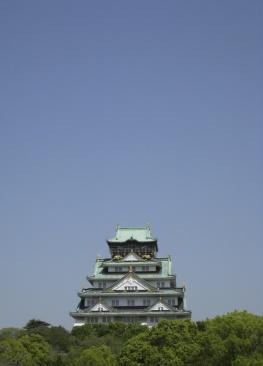 osaka castle with blue sky