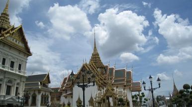 palace and bright sky in bangkok