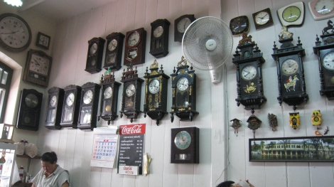 restaurant with clocks in bangkok
